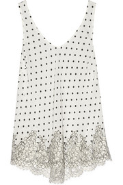 Chaplin's Love Story lace-trimmed printed silk-crepe camisole