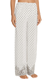 Rosamosario Chaplin's Love Story lace-trimmed printed silk-crepe pajama pants