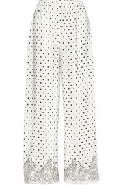 Chaplin's Love Story lace-trimmed printed silk-crepe pajama pants