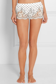 Chaplin's Love Story lace-trimmed printed silk-crepe shorts