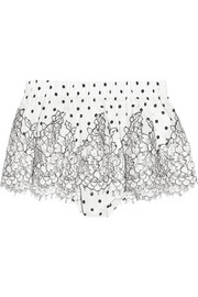 Rosamosario Chaplin's Love Story lace-trimmed printed silk-crepe shorts