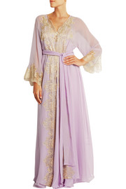 Camelot Mon Amour lace-trimmed silk-georgette robe