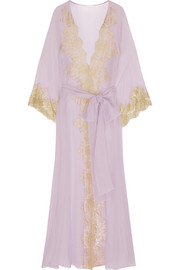 Rosamosario Camelot Mon Amour lace-trimmed silk-georgette robe