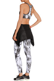 Paneled printed stretch-jersey sports bra