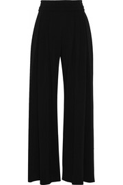 Stretch-cady wide-leg pants