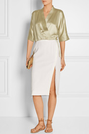 Wrap-effect hammered-satin blouse