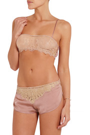Le Reve lace-trimmed silk-satin briefs
