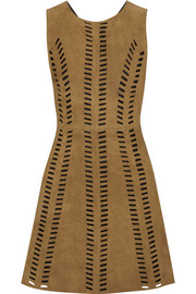 Rigolette perforated suede mini dress