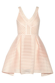 Rayure mesh-striped jersey mini dress