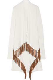 Maje Mexico suede-fringed linen-blend cardigan