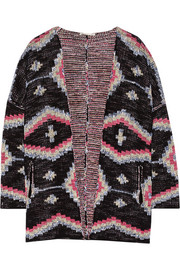Maje Maori knitted cotton-blend cardigan