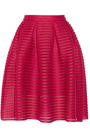 Maje Jam pleated open-knit skirt