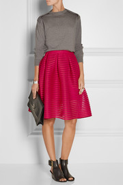 Jam pleated open-knit skirt