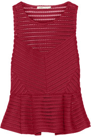 Maje Louvre open-knit peplum top