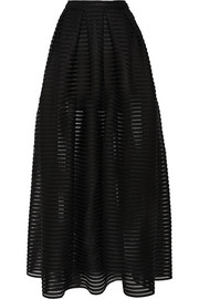 Jongle mesh-striped jersey maxi skirt