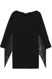 Maje Rodeo fringed crepe mini dress