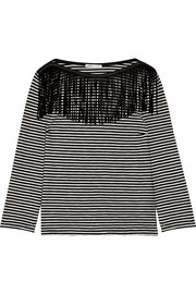 Maje Trilogie fringed cotton-jersey top