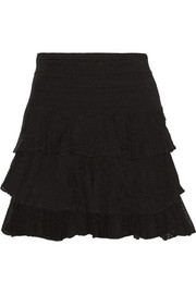 Jupiter ruffled stretch-knit mini skirt
