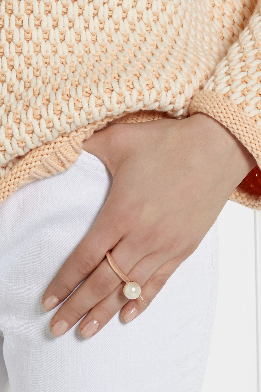 Ryan Storer Rose gold-plated Swarovski pearl two-finger ring