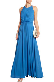 Gathered silk-crepe maxi dress