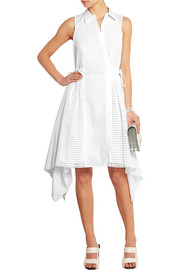 Broderie anglaise-paneled stretch-cotton poplin dress