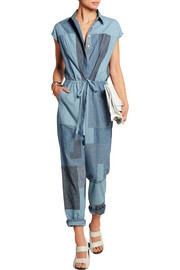 Patchwork cotton-chambray jumpsuit
