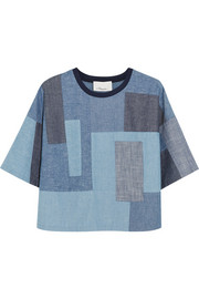 3.1 Phillip Lim Patchwork cotton-chambray top