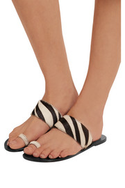 Astrid zebra-print calf hair sandals