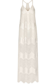 Vandy paneled crinkled-satin and lace maxi dress