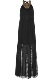 Lois embellished crinkled crepe lace maxi dress