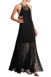 Lois embellished crinkled crepe lace gown