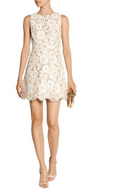 Leann cotton-blend guipure lace mini dress