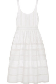 Alice + Olivia Myrtle lace-trimmed pintucked cotton dress