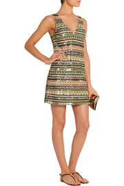 Venetia embellished crepe mini dress