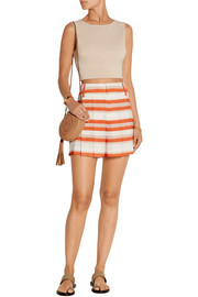 Flutter striped crepe de chine shorts