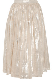 Evita pleated metallic silk-blend skirt