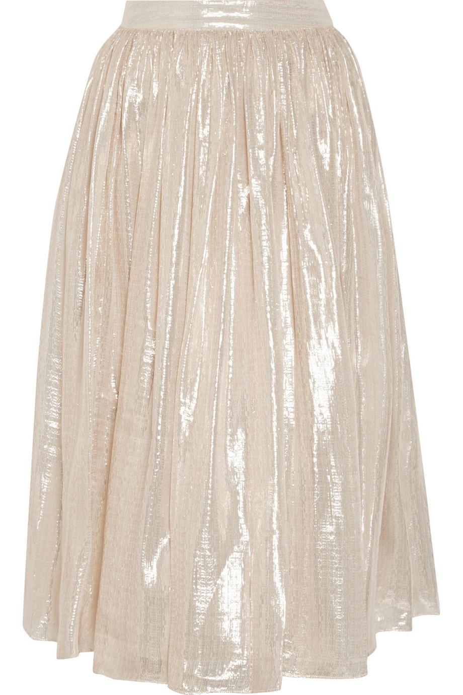 Alice + Olivia Evita Pleated Metallic Silk-Blend Skirt, Silver, Women's, Size: 2