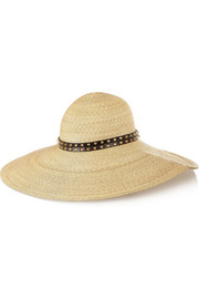 Studded leather-trimmed woven straw sunhat