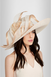 Scroll and rosette-embellished straw hat
