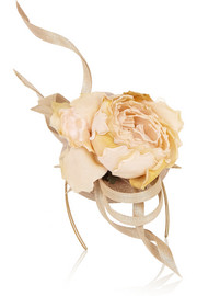 Buntal scroll and rose-embellished parisisal headpiece