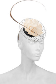 Feather-embellished veiled parisisal headpiece