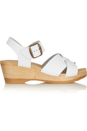 Criss Cross textured-leather wedge sandals