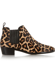 Shaw leopard-print calf hair ankle boots