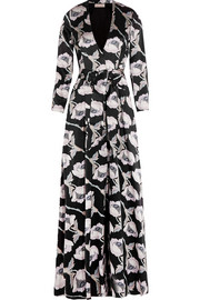 Floral-print silk-satin maxi dress