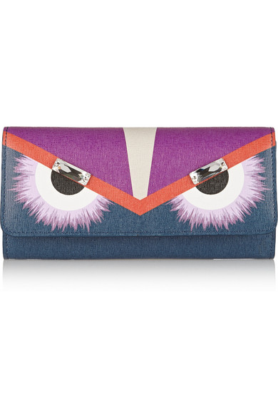 Embellished textured-leather continental wallet