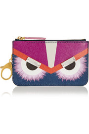 Monster embellished printed textured-leather bag charm