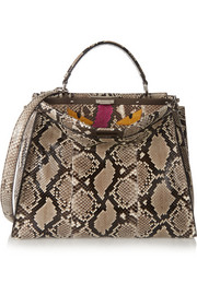Peekaboo large python and crocodile tote