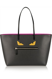 Roll appliquéd textured-leather tote