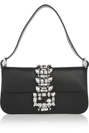 Baguette embellished leather shoulder bag
