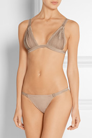 La Perla Nervures satin-trimmed stretch-tulle thong